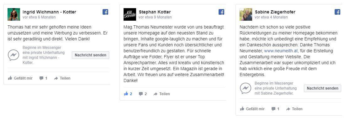 facebook feedback mit 5 Sternen